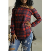 Lovely Euramerican Bateau Neck Grid Printed Red Bl