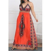 Lovely Ethnic Style Totem Printed Orange Floor Len