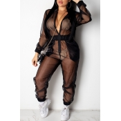 Lovely Sexy See-through Black One-piece Jumpsuit(W