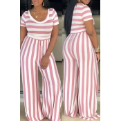 Lovely Casual O Neck Striped Pink One-piece Jumpsu