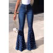 Lovely Casual High Waist Rhinestone Decoration Blu