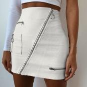 Lovely Casual Zipper Design White Mini A Line Skir