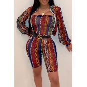Lovely Casual Letter Printed Multicolor Two-piece
