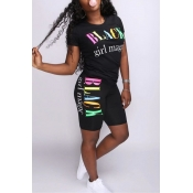 Lovely Casual O Neck Letter Printed Black Two-piec