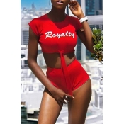 Lovely Casual O Neck Letter Printed Red Two-piece
