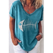 Lovely Casual V Neck Printed Blue T-shirt
