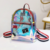 Lovely Casual See-through Multicolor PU Backpacks