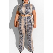 Lovely Casual Snakeskin Pattern Printed Blue Plus