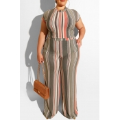 Lovely Casual O Neck Striped Printed Apricot Plus Size Two-piece Pants Set