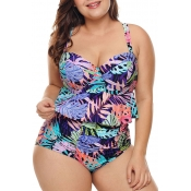 Lovely Bohemian Printed Multicolor Two-piece Swimw