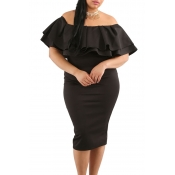 Lovely Bohemian Off The Shoulder Ruffle Black Knee