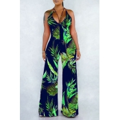 Lovely Chic Hollow-out Plants Printed Dark Blue On
