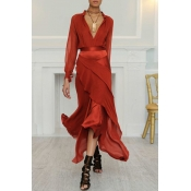 Lovely Bohemian Layered Cascading Red Ankle Length