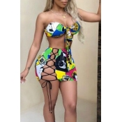 Lovely Printed Hollow-out Yellow Two-piece Swimwea