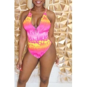Lovely Spaghetti Straps Printed Pink One-piece Swi