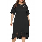 Lovely Stylish O Neck Hollow-out Black Knee Length