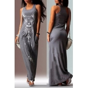 Lovely Casual U Neck Printed Grey Floor Length T-s