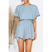 Lovely Casual O Neck Lake Blue One-piece Romper