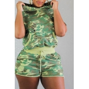 Lovely Casual Hooded Collar Camouflage Printed Gre