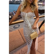 Lovely Bohemian Sexy Dot Printed White See-through