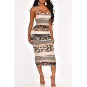Lovely Sexy Spaghetti Straps Printed Backless Mult