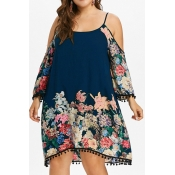 Lovely Stylish Off The Shoulder Printed Dark Blue