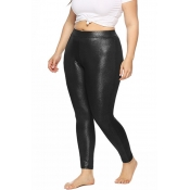 Lovely Casual Mid Waist Black Plus Size Pants