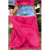 Lovely Casual Patchwork Rose Red Ankle Length Skir