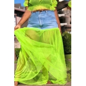 Lovely Casual Patchwork Green Ankle Length Skirt