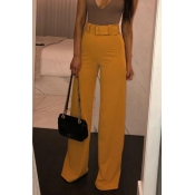 Lovely Trendy Loose Yellow Pants