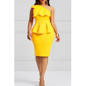 Lovely Stylish One Shoulder Ruffle Design Yellow K