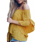 Lovely Stylish Off The Shoulder Yellow Blouse
