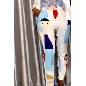 Lovely Casual High Elastic Printed White Pants
