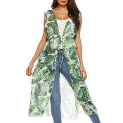 Lovely Casual Printed Lace-up Green Chiffon Waistc