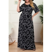 Lovely Bohemian O Neck Printed Black Floor Length