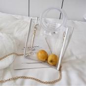 Lovely Stylish See-through White Pvc Messenger Bag