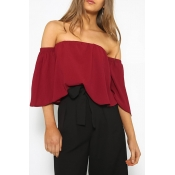 Lovely Stylish Off The Shoulder Wine Red Blouse