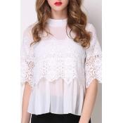Lovely Stylish O Neck Lace Patchwork White Blouse