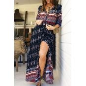 Lovely Bohemian V Neck Printed Black Ankle Length Dress