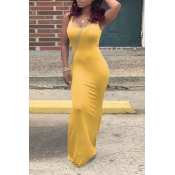 Lovely Casual U Neck Yellow Floor Length Dress