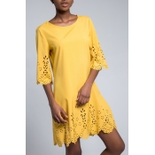 Lovely Casual O Neck Hollow-out Yellow Knee Length OL Dress