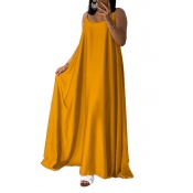 Lovely Casual U Neck Yellow Ankle Length Dress