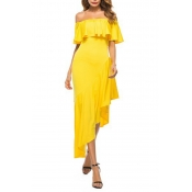 Lovely Casual Off The Shoulder Asymmetrical Yellow