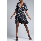 Lovely Sweet V Neck Dot Printed Ruffle Asymmetrical Black Mini Dress