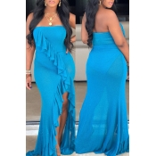 Lovely Sexy Off The Shoulder Ruffle Asymmetrical Blue Floor Length Dress