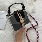 Lovely Stylish See-through Black PU Messenger Bag