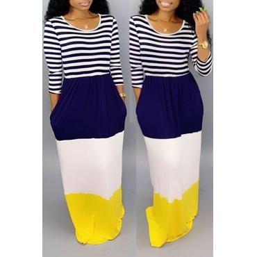 Lovely Casual Patchwork Dark Blue Floor Length Dress