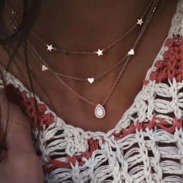 Lovely Stylish Multi-layer Gold Necklace