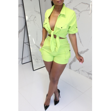 Lovely Casual Buttons Design Green Denim Two-piece Shorts Set