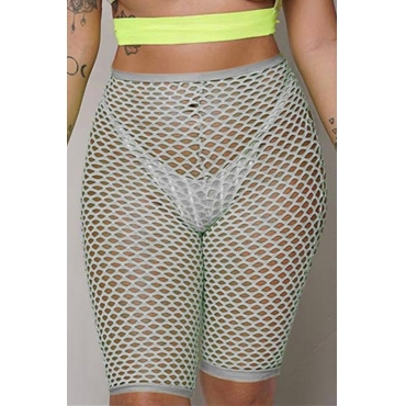 Lovely Sexy High Waist Hollow-out Grey Shorts(Without Lining)
